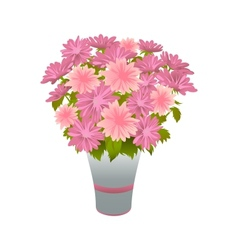 Pink asters in blue vase vector