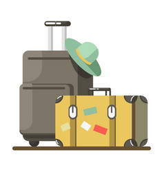 Summer travel or holiday vacation luggage vector