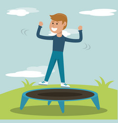 Physical education - smiling boy jump trampoline vector