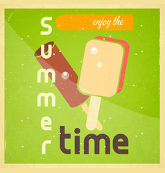 Summer time retro square poster vector