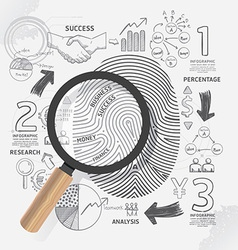 Business Fingerprint doodles line drawing success vector image