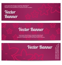 Abstract banner with pink flowers vector