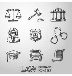 Law justice freehand icons set vector