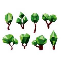Green 3d polygonal trees icons vector
