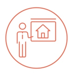 Real estate agent showing house line icon vector