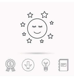 Moon and stars icon night or sleep sign vector