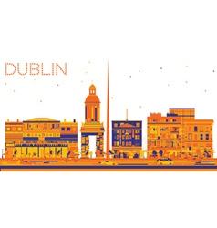Abstract dublin skyline with color buildings vector