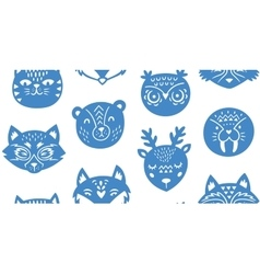 Animal paper cut seamless pattern vector