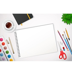 Art process with watercolor vector image