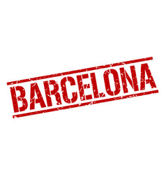 Barcelona red square stamp vector