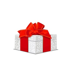 beautiful white wedding gift box with a red bow vector image vector image