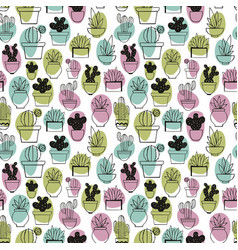 Cactus linear stylized drawing seamless pattern vector