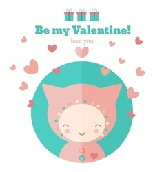 Card with cute child for Valentines day vector image vector image