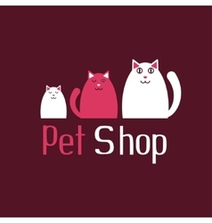 Cat sign for pet shop logo kitten and kitty vector