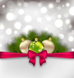 Christmas glowing card with fir branches and glass vector