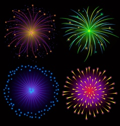 Colorful Fireworks on Dark Background vector image vector image