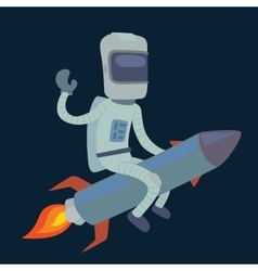 Cute astronaut in space on rocket vector