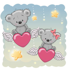 Cute lovers bears vector