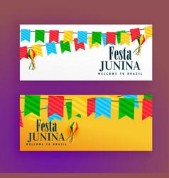 festa junina festival banners set of two vector image vector image