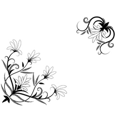 Floral decorative element for corner design vector