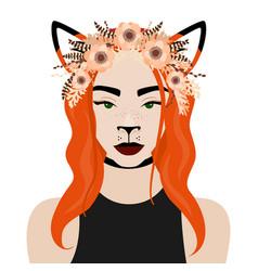 Girl with fox ears flower vector