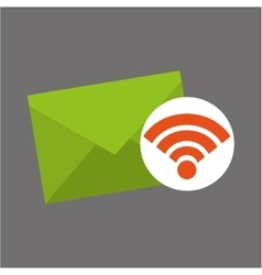 Icon email envelope wifi internet vector