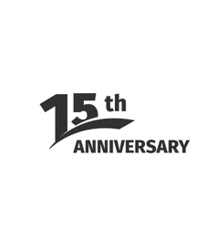 Isolated abstract black 15th anniversary logo on vector image