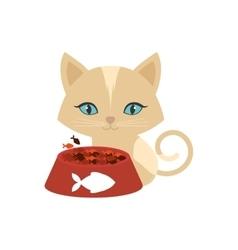 kitten blue eyes plate food fish print vector image vector image