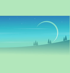 Landscape at night game background vector