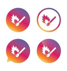 Match stick burns icon burning matchstick sign vector