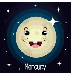 Mercury planet character space background vector