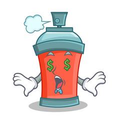 money eye aerosol spray can character cartoon vector image
