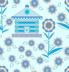 pattern of houses and flowers stylized vector image