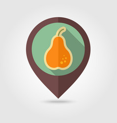 Pear flat pin map icon fruit vector