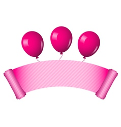 pink scroll with balloons vector image vector image