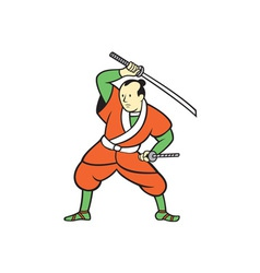 Samurai warrior wielding katana sword cartoon vector