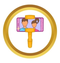 Selfie stick with mobile phone icon vector