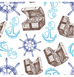 Ship anchor treasure chest and steering wheel vector