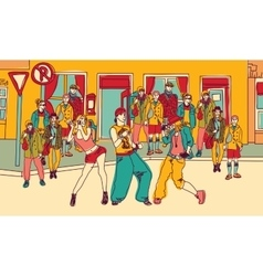 Street dance people group city color vector image vector image