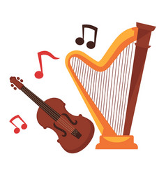 stringed musical instruments and notes around vector image