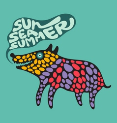 Sun sea summer - set 8 vector