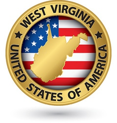 West virginia state gold label with state map vector