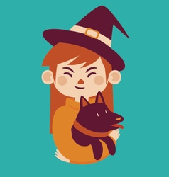 Witch holding dog vector