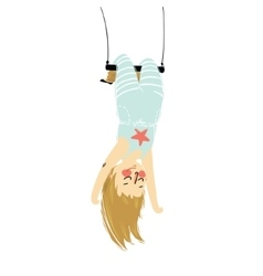 A solo girl hanging upside vector