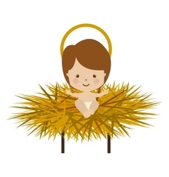 Baby jesus cartoon in straw cradle vector