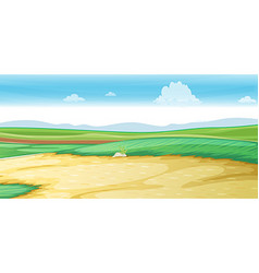 Scene with road on the field vector