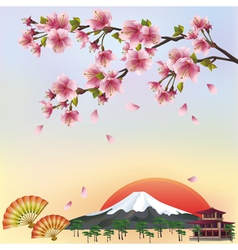 Background with mountain and sakura blossom vector
