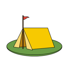 color image camping tent in grass with flag vector image