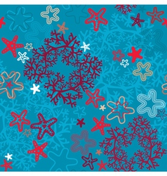 Seamless background with coral reef and sea stars vector