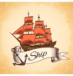 Tall ship emblem vector